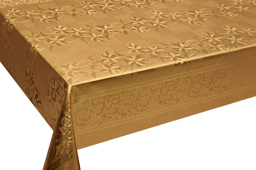 Table Cover - Gold Or Silver Table Cover - Emboss With Spunlace Backing Table Cover - F5003